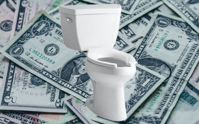 Toilet on a money background